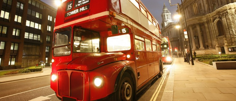 Preview Save to a lightbox Find Similar Images Share Stock Photo: London's iconic Routemaster Bus at dusk and St Paul's Cathedral is in the background. (Credit: Bikeworldtravel/Shutterstock.com)