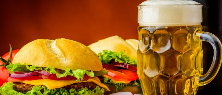 Still life with traditional homemade hamburger and beer (Credit: Shutterstock/Christian Draghici)