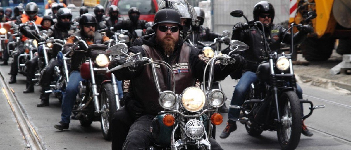 Oslo, Norway - September 14, 2013: Protest of motorcycle clubs. MC Bandidos, Gladiators, Hell's Angels, Coffin Cheaters, Road Pirates, Taurus and others held the protest against the police bias. (Credit: Uncleroo / Shutterstock.com)