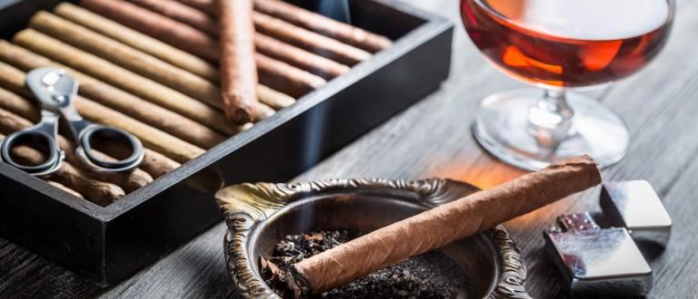 Aroma of cognac and burnig cigar