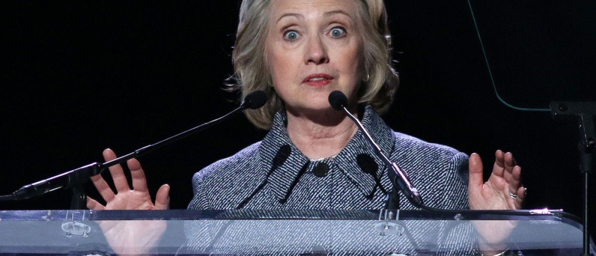 NEW YORK - March 10, 2015: Hillary Clinton speaks during the Step It Up For Gender Equality event at the Hammerstein Ballroom on March 10, 2015, in New York JStone / Shutterstock.com)