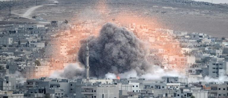 Explosion after U.S. strike on Kobane, Syria. Source: Orlock/Shutterstock