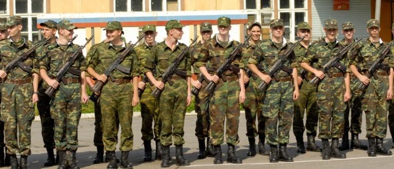 Young Russian recruits swear a military oath in Morozki, Russia. Source: nikitabuida/Shutterstock