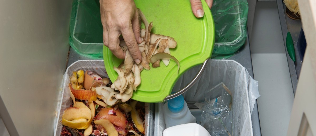 Household waste sorting and recycling kitchen bins. (Shutterstock/KaliAntye)