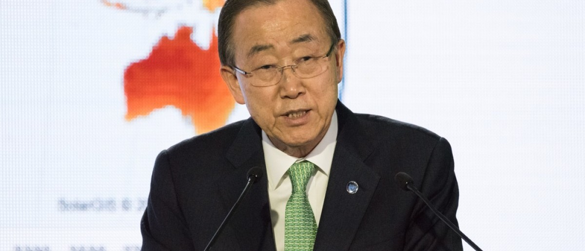 LE BOURGET near PARIS, FRANCE - NOVEMBER 30, 2015 :Secretary-General of the United Nations Ban Ki-Moon at the Paris COP21, United nation conference on climate change. (Frederic Legrand - COMEO / Shutterstock.com)