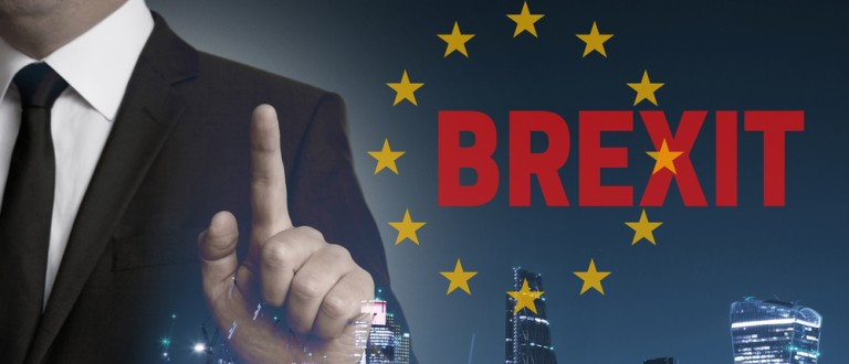 Brexit on United Kingdom membership of the European Union London skyline concept with businessman. (Credit: wsf-s / Shutterstock.com)