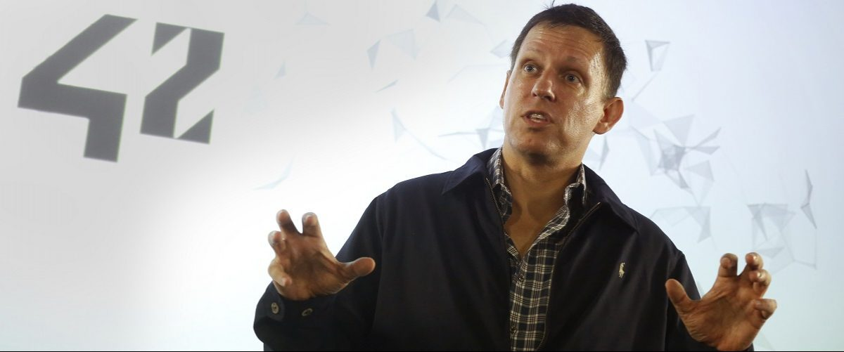 Peter Thiel, the Silicon Valley investor who co-founded PayPal, talks to students during his visit to the 42 school campus in Paris