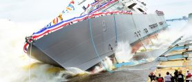 The littoral combat ship Pre-Commissioning Unit (PCU) Little Rock (LCS 9) is launched into the Menominee River in Marinette, Wisc. (Photo: U.S. Navy photo/Released)