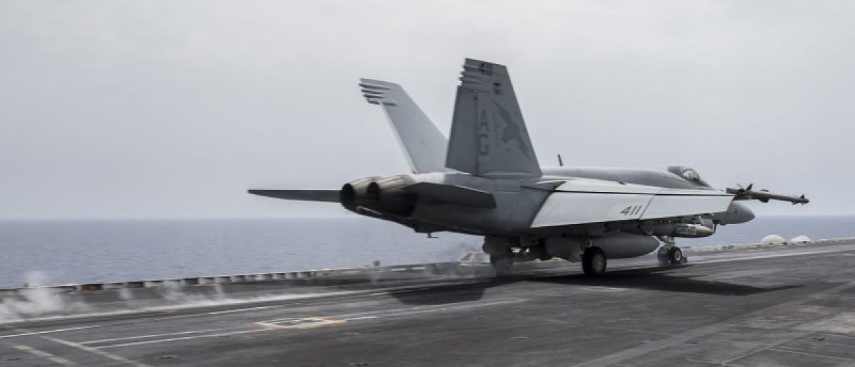 A U.S. Navy F/A-18E Super Hornet fighter jet launches from the flight deck of the aircraft carrier USS Harry S. Truman in the Mediterranean Sea in a photo released by the US Navy June 3, 2016. U.S. fighter jets on Friday launched strikes against Islamic State from the USS Harry S. Truman aircraft carrier, the U.S. Navy said, marking the first time a U.S. aircraft carrier targeted areas in the Middle East from the Mediterranean since the Iraq War began in 2003. U.S. Navy/Mass Communication Specialist 3rd Class Anthony Flynn/Handout via REUTERS