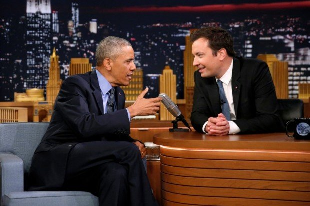President Obama talks to Tonight Show host Jimmy Fallon during a break in a taping of the show, to air Thursday night, at NBC's Rockefeller Center studios in New York. REUTERS/Jonathan Ernst