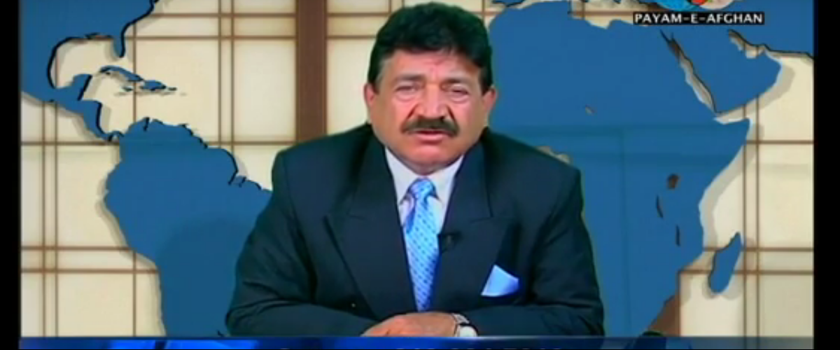 "Seddique Mateen, father of Orlando shooter Omar Mateen, is pictured hosting the ""Durand Jirga Show"" (Screengrab/YouTube)"