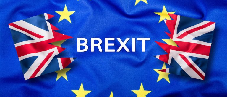 Flags of the United Kingdom and the European Union. UK Flag and EU Flag. British Union Jack flag. Flag outside stars. England appearances in the European Union Shutterstock/Marian Weyo