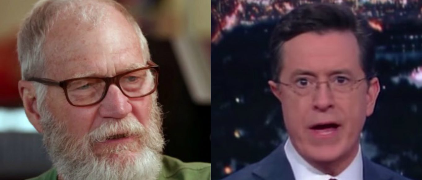 David Letterman, Stephen Colbert, Screen Grabs NBC and CBS