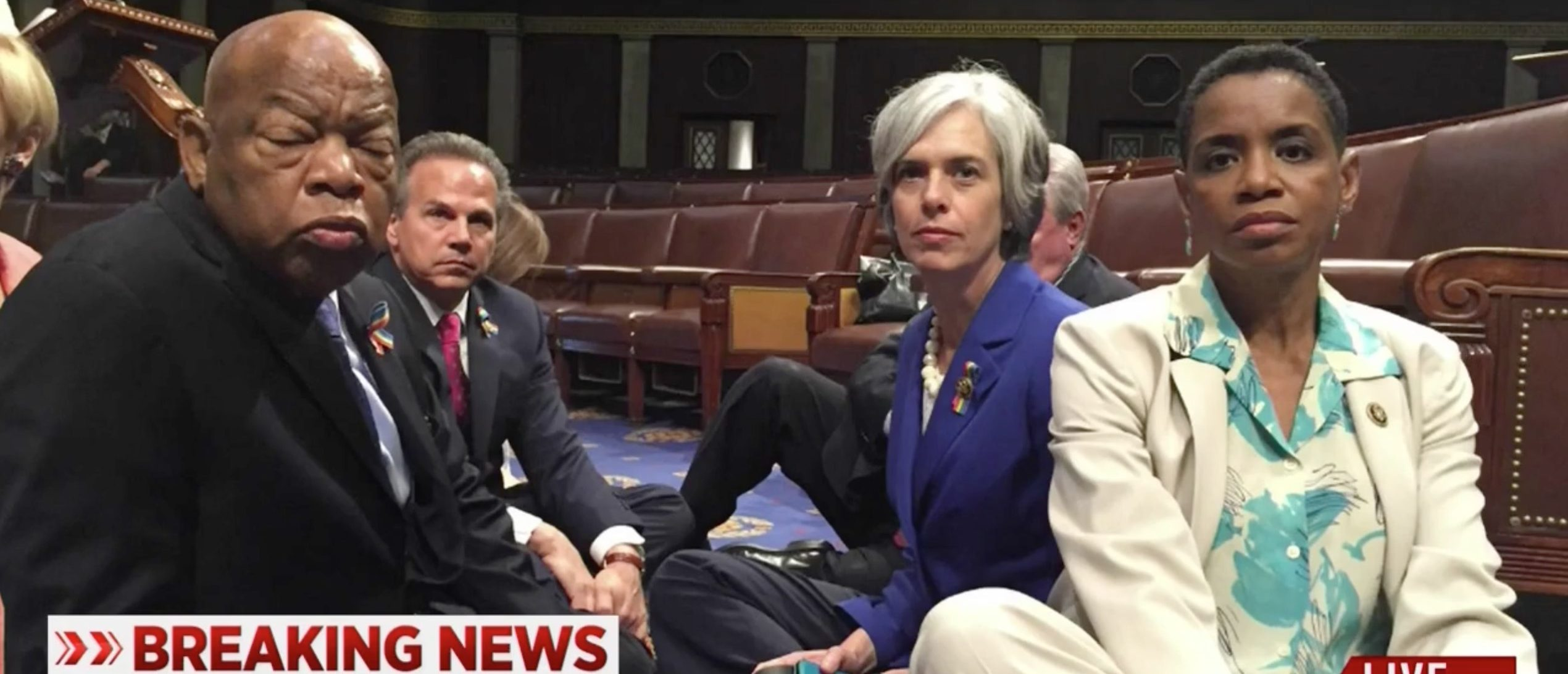 Democrats Sitting On The House Floor, Screen Grab MSNBC, 6-22-2016
