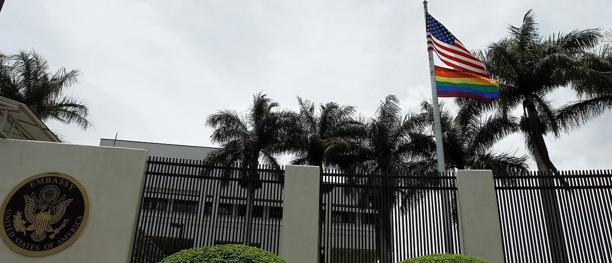 The flag of diversity flutters at the U.S. Embassy in San Jose, Costa Rica