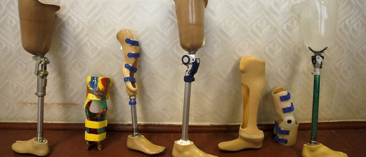 Prosthetic legs are displayed at the Orthopedic Center in Donetsk, Ukraine, December 2, 2015. REUTERS/Alexander Ermochenko
