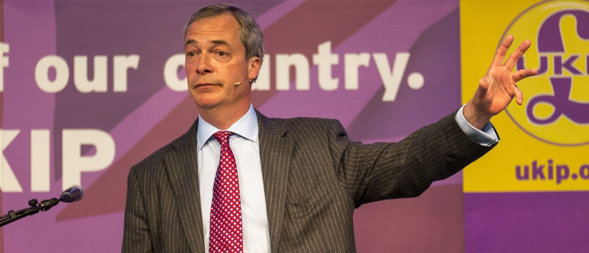 UKIP Leader Nigel Farage at a party rally in Derby, UK. Shutterstock/david muscroft