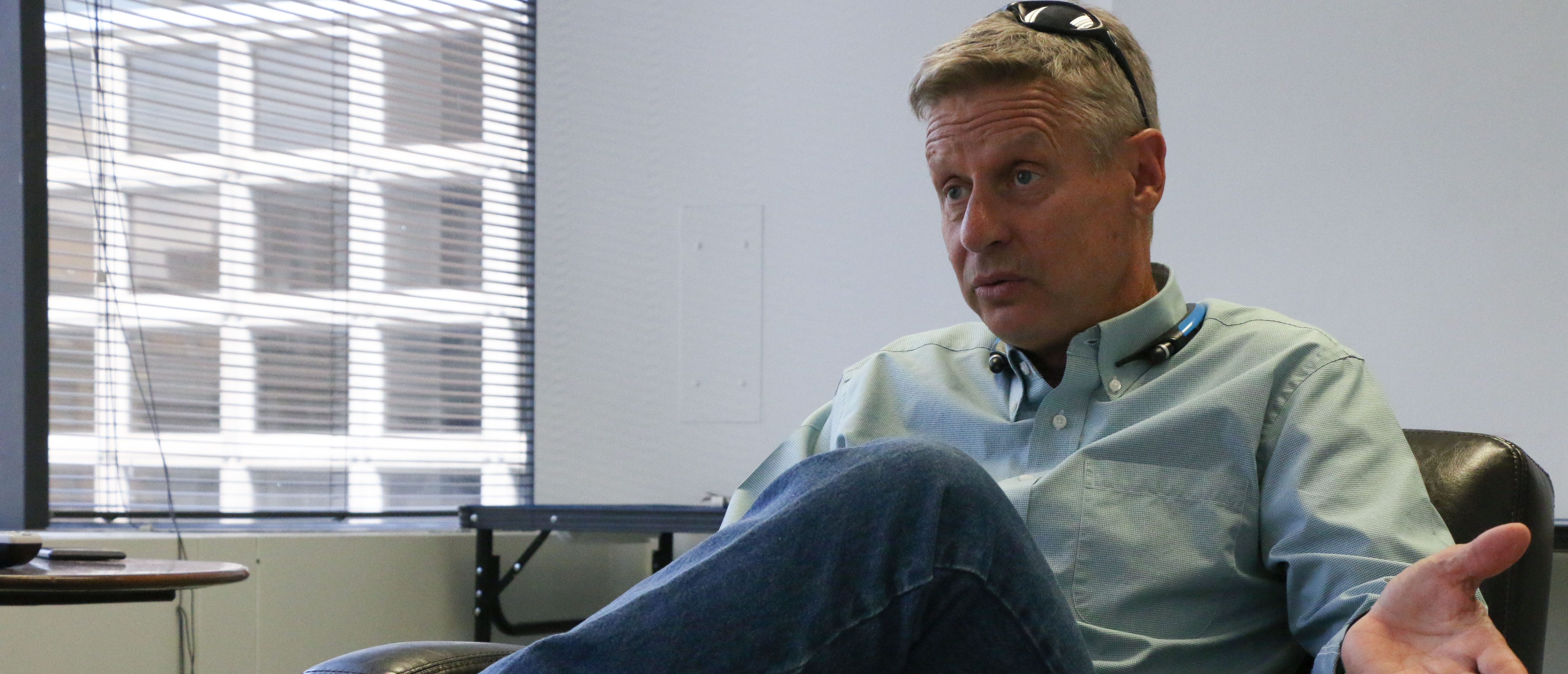 Gary Johnson visits The Daily Caller, photo by Katie Frates