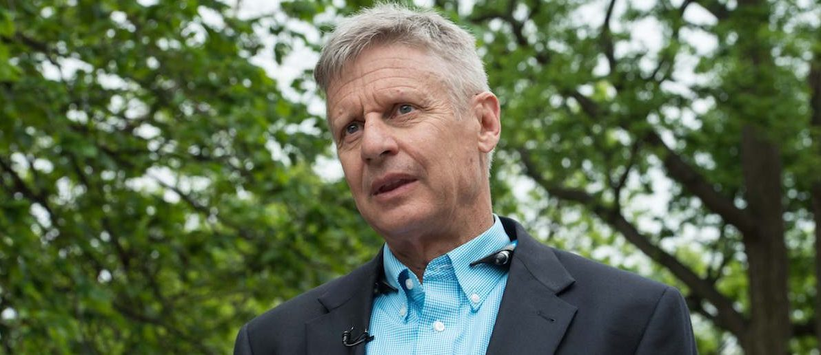 Libertarian Party presidential candidate Gary Johnson speaks to AFP during an interview in Washington, DC, on May 9, 2016. (NICHOLAS KAMM/AFP/Getty Images)