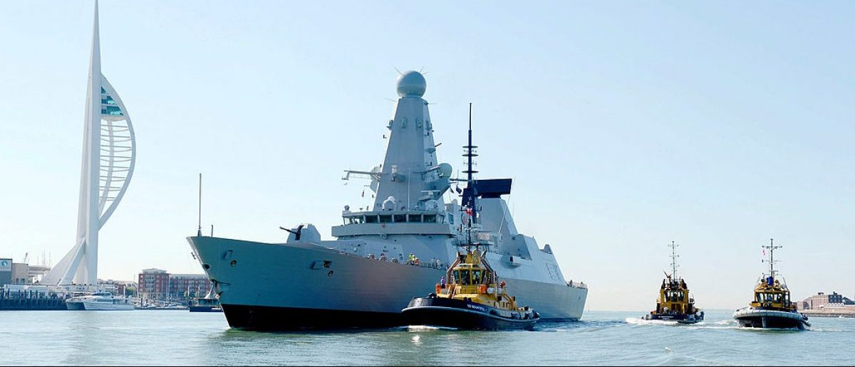 The HMS Defender arrives in Portsmouth harbor. [Chris Mumby/Getty Images]