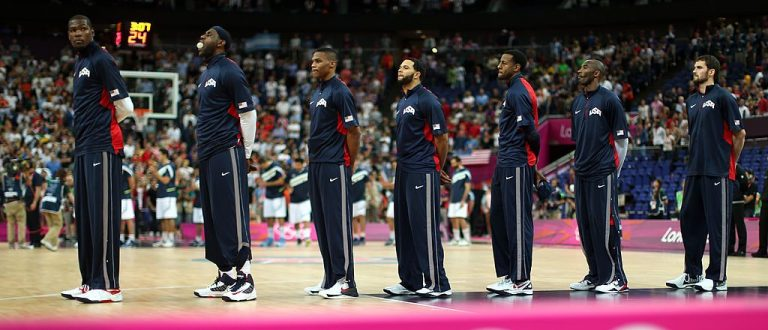 The United States team stands during the national anthem before taking on Argentina in the Men's Basketball semifinal match on Day 14 of the London 2012 Olympic Games at the North Greenwich Arena on August 10, 2012 in London, England
