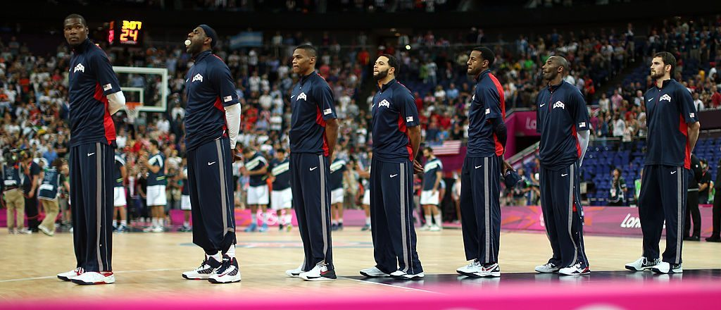 The United States team stands during the national anthem before taking on Argentina in the Men's Basketball semifinal match on Day 14 of the London 2012 Olympic Games at the North Greenwich Arena on August 10, 2012 in London, England. (Photo by Christian Petersen/Getty Images)