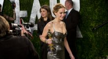 Jennifer Lawrence heading to the Vanity Fair Oscar Party in 2013 (Photo: Adrian Sanchez-Gonzalez, Getty Images)
