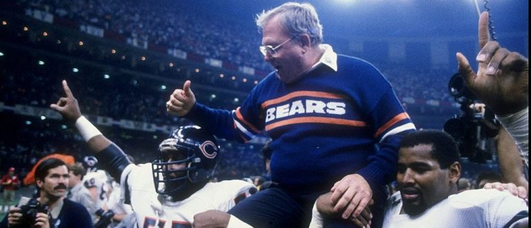 Buddy Ryan and defensive end Richard Dent of the Chicago Bears celebrate their Super Bowl XX victory over the New England Patriots