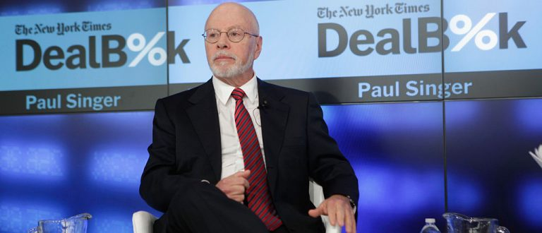 NEW YORK, NY - DECEMBER 11: Founder and President, Elliot Management Corporation Paul Singer speaks onstage during The New York Times DealBook Conference at One World Trade Center on December 11, 2014 in New York City. (Photo by Thos Robinson/Getty Images for New York Times)