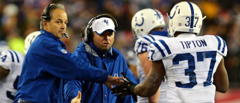 Colts head coach Chuck Pagano and assistant special teams coach Brant Boyer celebrate a Zurlon Tipton touchdown (Getty Images