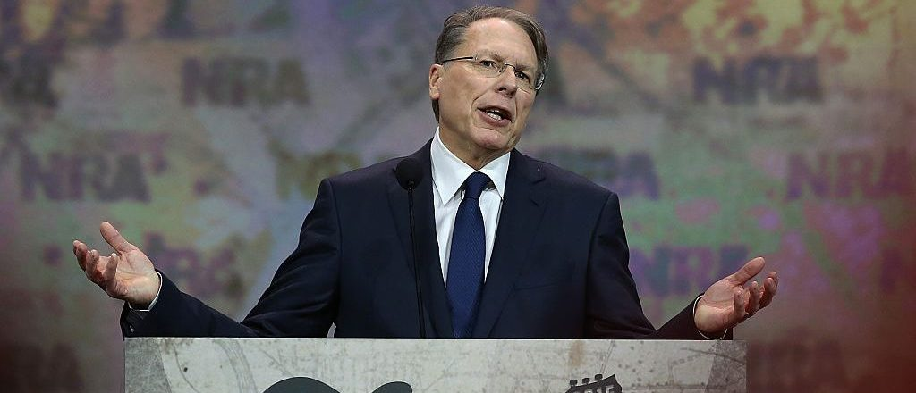 NRA executive vice president Wayne LaPierre speaks during the NRA-ILA Leadership Forum at the 2015 NRA Annual Meeting & Exhibits on April 10, 2015 in Nashville, Tennessee. (Photo by Justin Sullivan/Getty Images)