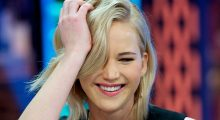 Jennifer laughs in a post-show interview (Photo by Juan Naharro Gimenez/Getty Images)