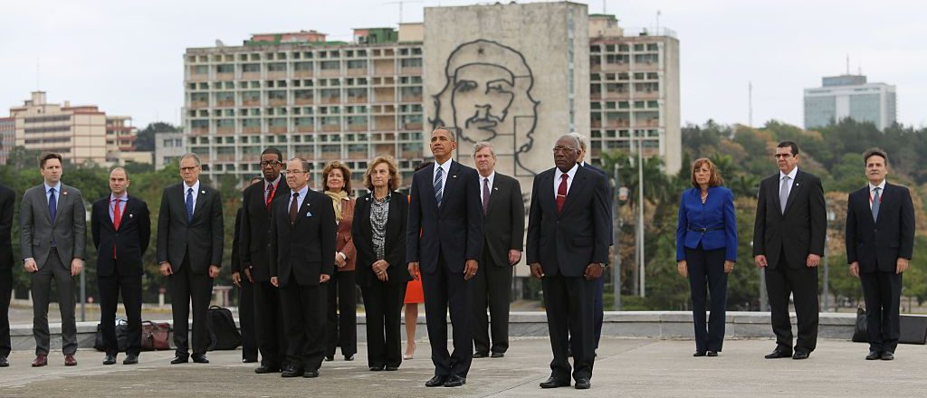 President Barack Obama attends a wreath-laying ceremony at Jose Marti monument in the Revolution Palace of Havana, Cuba. (Getty Images)