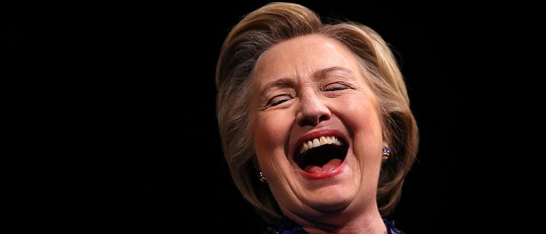 Democratic presidential candidate former Secretary of State Hillary Clinton laughs during a Get Out the Vote rally at World Cafe Live at the Queen on April 25, 2016 in Wilmington, Delaware
