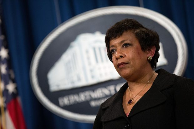 U.S. Attorney General Loretta Lynch looks on after announcing federal action related to North Carolina, at the U.S. Department of Justice (Getty Images)