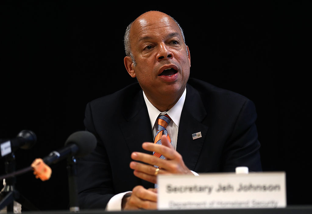 U.S. Homeland Security Secretary Jeh Johnson speaks during a press conference Santa Clara, California. (Getty Images)