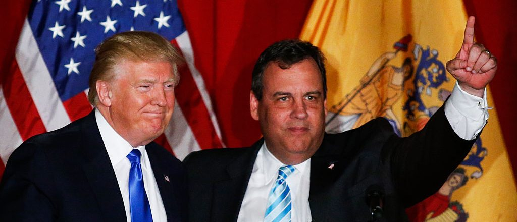 Donald Trump and Chris Christie greet the crowd at a fundraising event in Lawrenceville, New Jersey (Getty Images)