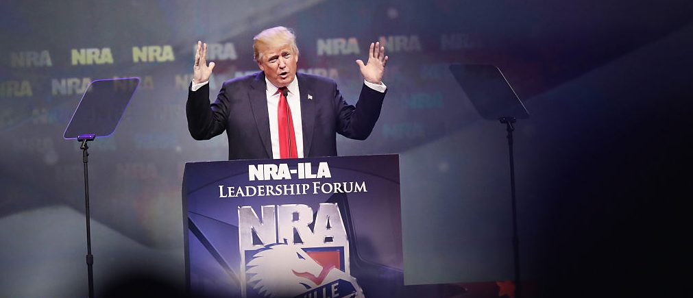 Donald Trump speaks at the National Rifle Association's NRA-ILA Leadership Forum during the NRA Convention at the Kentucky Exposition Center on May 20, 2016 in Louisville, Kentucky. The NRA endorsed Trump at the convention. (Photo by Scott Olson/Getty Images)