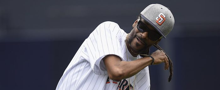 SAN DIEGO, CALIFORNIA - JUNE 8: Snoop Dogg throws out the ceremonial first pitch before a baseball game between the San Diego Padres and the Atlanta Braves at PETCO Park on June 8, 2016 in San Diego, California. (Photo: Getty Images/ Denis Poroy)