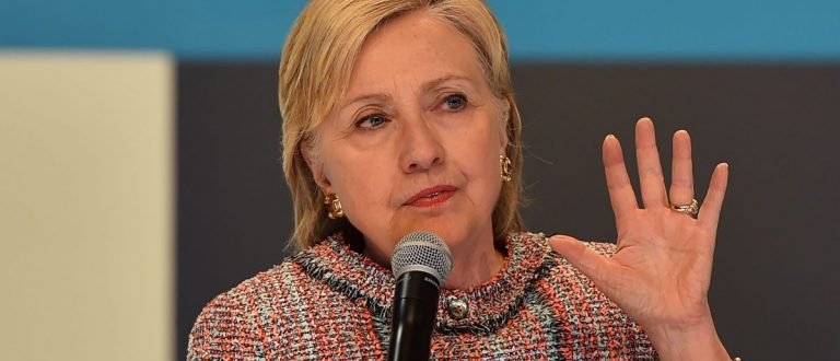 Presumptive Democratic presidential nominee Hillary Clinton addresses a town hall with about 100 millennials who are digital content creators and social media influencers, June 28, 2016, at Neuehouse in Hollywood, California. / AFP / Robyn BECK (Photo credit should read ROBYN BECK/AFP/Getty Images)
