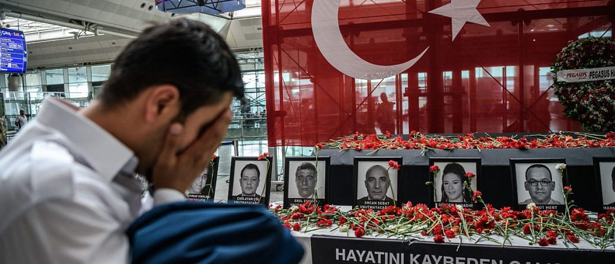 The death toll from the triple suicide bombing and gun attack that occurred on June 28, 2016 at Istanbul's Ataturk airport has risen to 43 including 19 foreigners. The government has pointed the finger of blame at the Islamic State group and Turkish police rounded up 13 suspected IS jihadists in raids at 16 different locations across Istanbul on June 30. / AFP / OZAN KOSE (Photo credit should read OZAN KOSE/AFP/Getty Images)