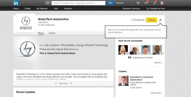 GreenTech Automotive's own LinkedIn page doesn't claim to have the 350 jobs it was required to create in Mississippi. Screenshot: LinkedIn/Andrew Follett