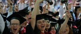 Graduating Law School students cheer as they receive their degrees during the 365th Commencement Exercises at Harvard University in Cambridge, Massachusetts, May 26, 2016. REUTERS/Brian Snyder