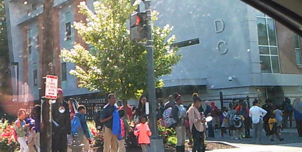 Kids being picked up by parents at KIPP Promise Academy, a public school in DC. DCNF photo