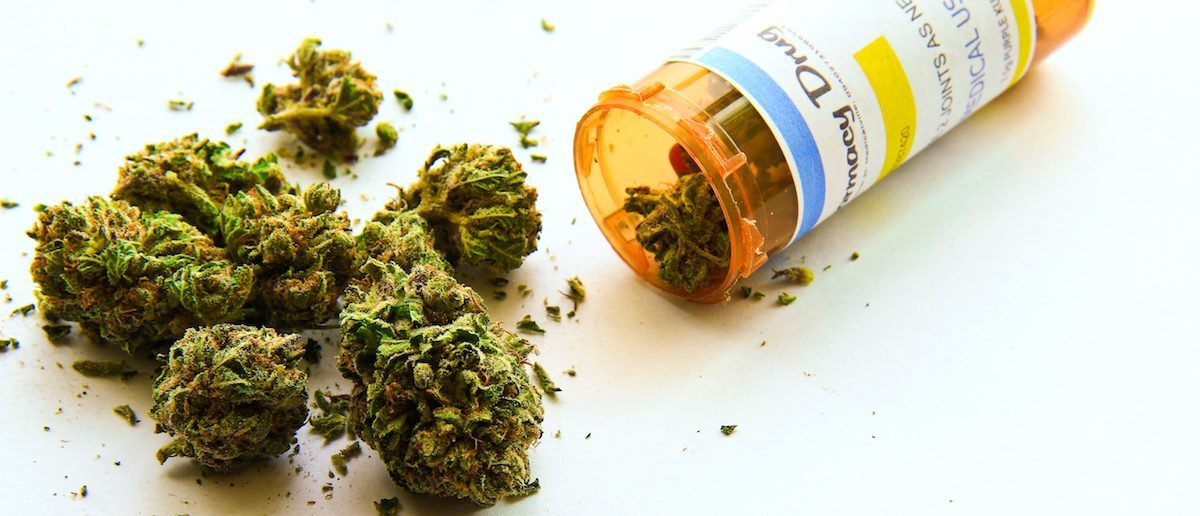 Medical marijuana pouring out of a prescription. (Shutterstock/Atomazul)