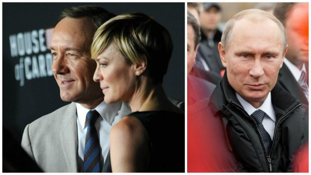 """Left: Wright & Kevin Spacey at the season two premiere of their Netflix series """"House of Cards"""" at the Directors Guild Theatre in LA on Feb 13, 2014. (Featureflash Photo Agency, Shutterstock). Right: Moscow, Russia - November 24, 2015: Vladimir Vladimirovich Putin (Russian President) in Moscow on Nov 24, 2015 (Timofeev Sergey/Shutterstock)"""