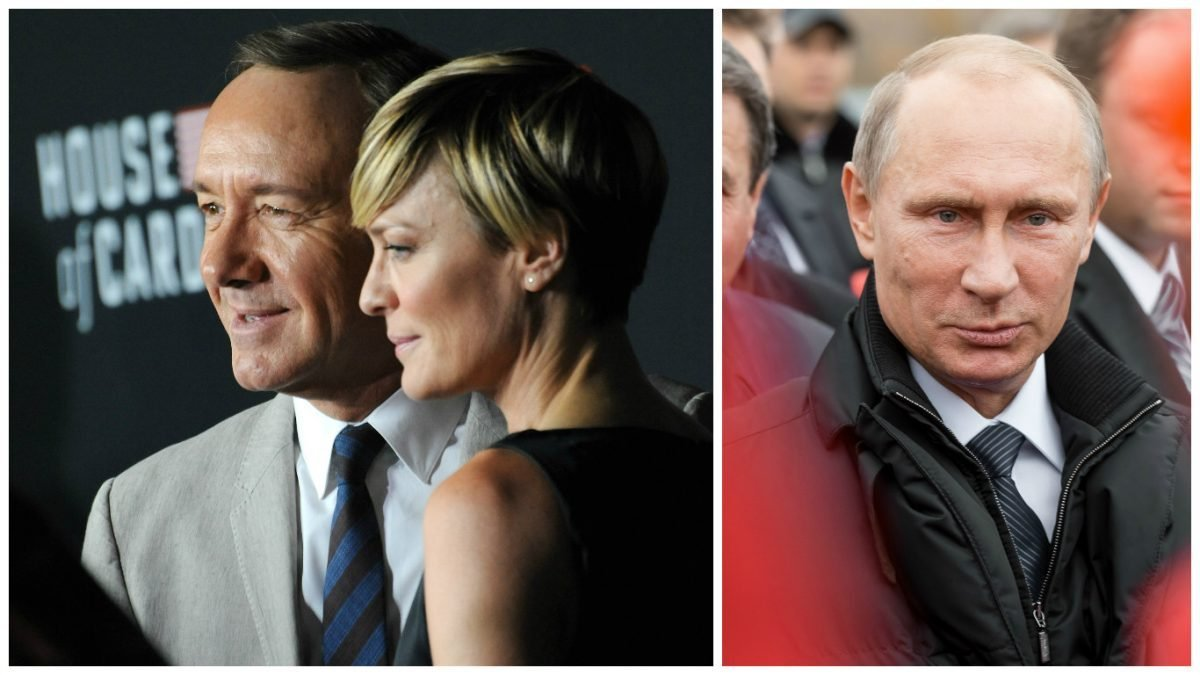 "Left: Wright & Kevin Spacey at the season two premiere of their Netflix series ""House of Cards"" at the Directors Guild Theatre in LA on Feb 13, 2014. (Featureflash Photo Agency, Shutterstock). Right: Moscow, Russia - November 24, 2015: Vladimir Vladimirovich Putin (Russian President) in Moscow on Nov 24, 2015 (Timofeev Sergey/Shutterstock)"