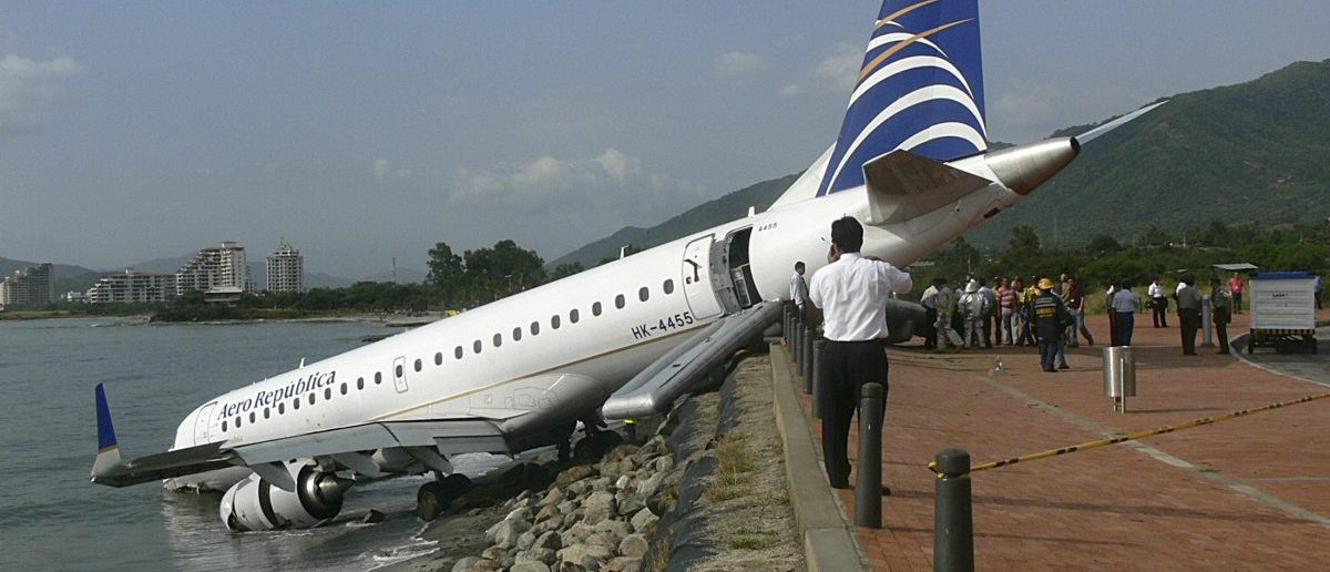 A Embraer 190 aircraft is seen after an emergency landing (REUTERS/Hector Candelario)