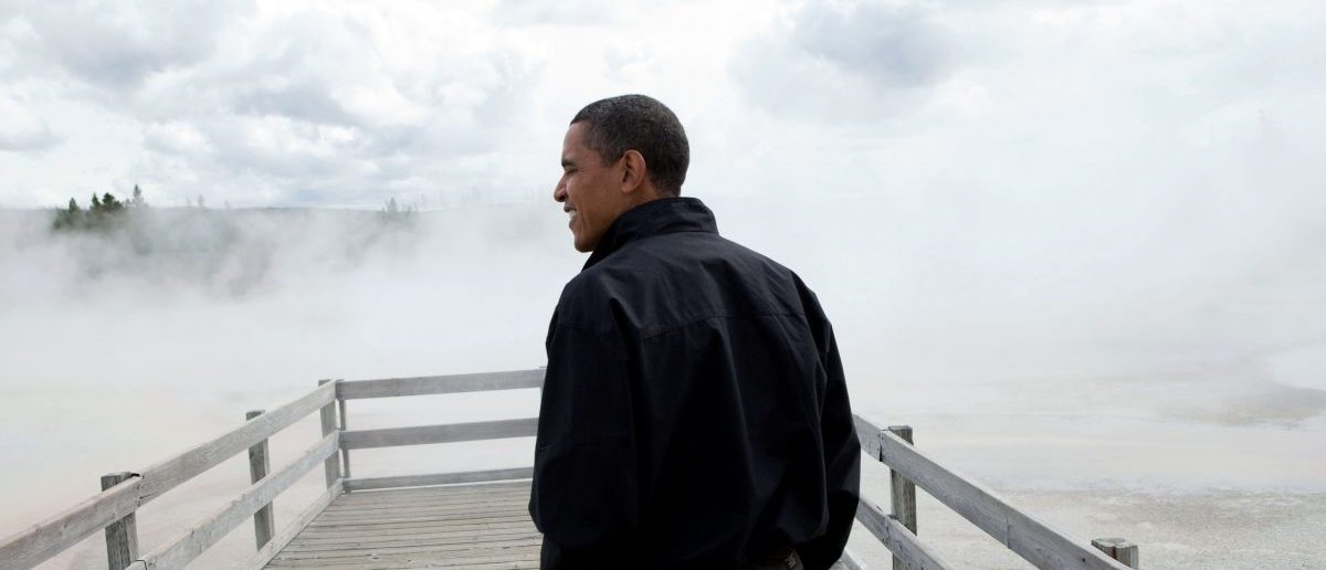U.S. President Barack Obama visits Sunset Lake in Yellowstone National Park in this official handout photo taken on August 15, 2009 and later released by the White House in Washington. REUTERS/Pete Souza/The White House/Handout