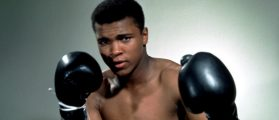 Muhammad Ali poses with gloves in and undated portrait (Reuters Pictures)